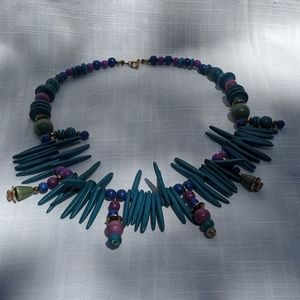 Turquoise Wooden and Beaded Necklace